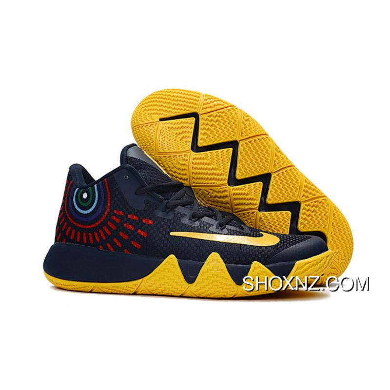 Nike Kyrie 4 Deep Blue Yellow Free Shipping