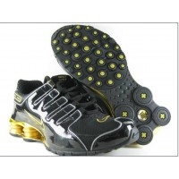 Nike Shox NZ Black Patent Metallic Gold