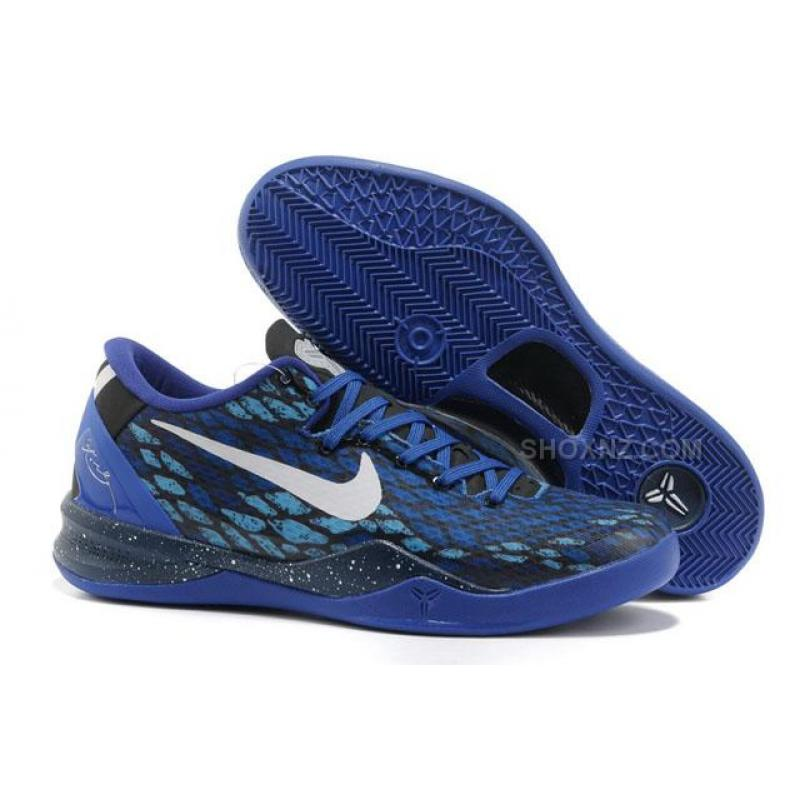 newest on feet images of low priced Nike Kobe 8 System Basketball Shoe Snake Blue/Black, Price ...