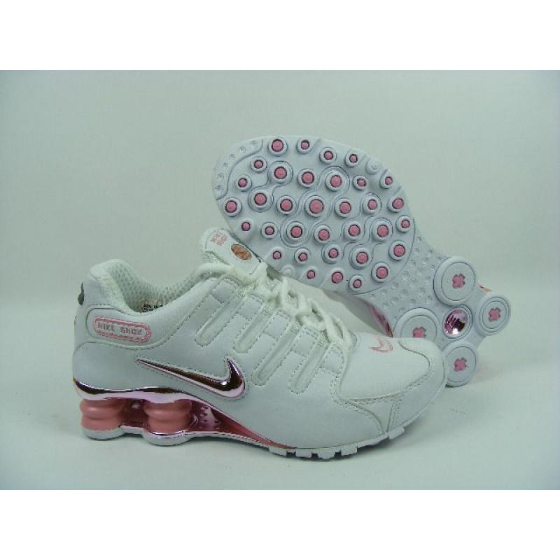 new product 57aef b9003 Womens Nike Shox NZ White Metallic Pink