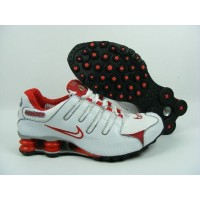 Womens Nike Shox NZ Perforated Leather White Red Silver