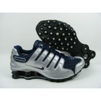 Womens Nike Shox NZ Perforated Leather Metallic Silver Navy