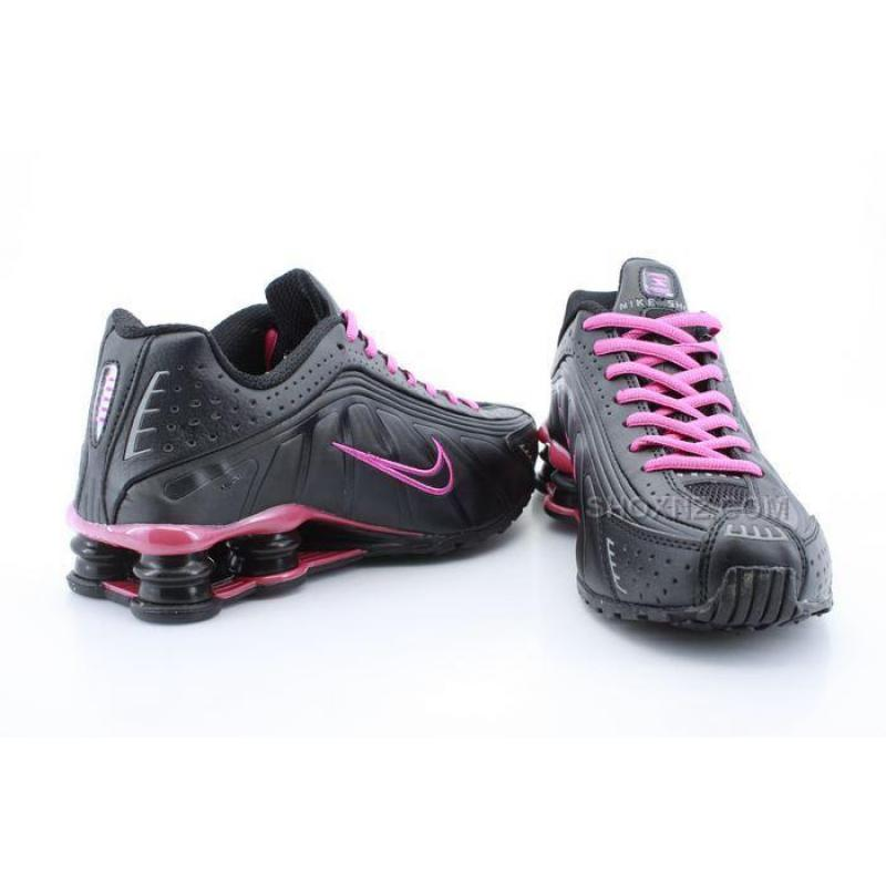 womens nike shox r4 black pink shoes