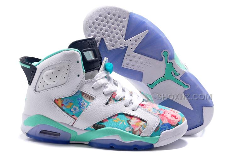 "the best attitude 379d6 65b0c Womens Air Jordan 6 GS ""Floral"" Custom White/Turquoise For Sale In Girls  Size"