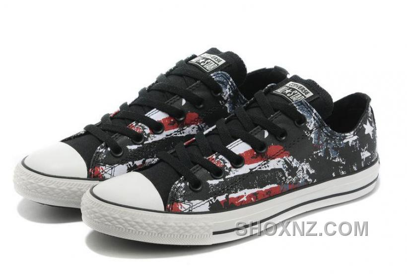 CONVERSE American Flag All Star Black Red White Graffiti Print Chuck Taylor Canvas Sneakers NYC8m