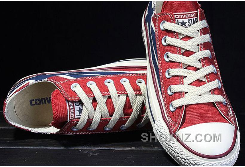 CONVERSE Rock Union Jack British Flag Red Blue Chuck Taylor All Star Canvas Sneakers Ymisf
