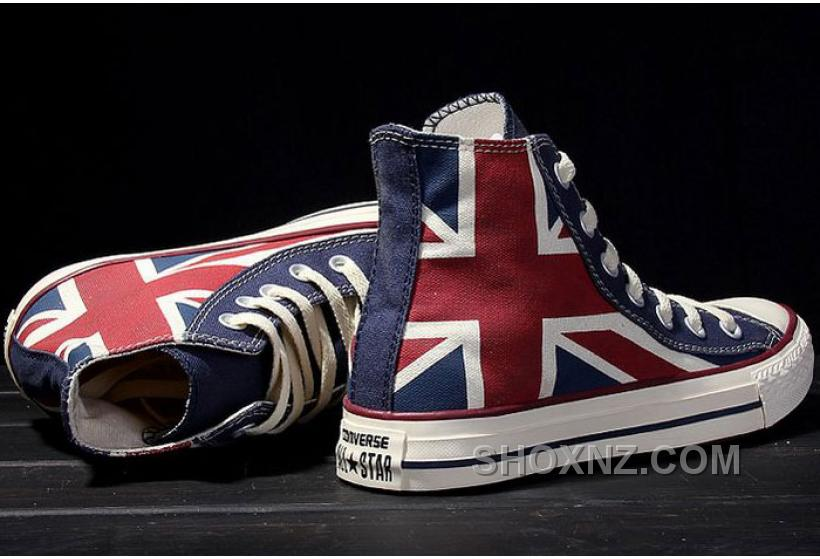 CONVERSE British Flag Rock Union Jack Red Blue Chuck Taylor All Star Canvas Sneakers KCKr3