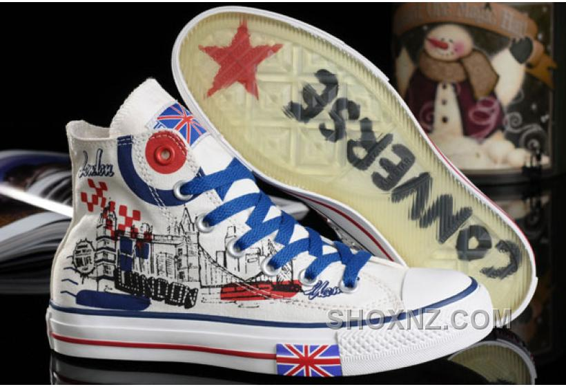 e2afeed60e4c ... low cost 5a3e6 4ccbb CONVERSE UK Flag London Building Printed White  Canvas Transparent Soles Shoes XNx2Z ...