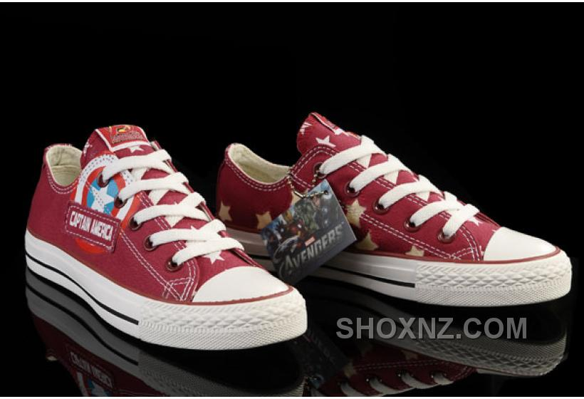 Red Captain America CONVERSE Tops Canvas Shoes XDSXn