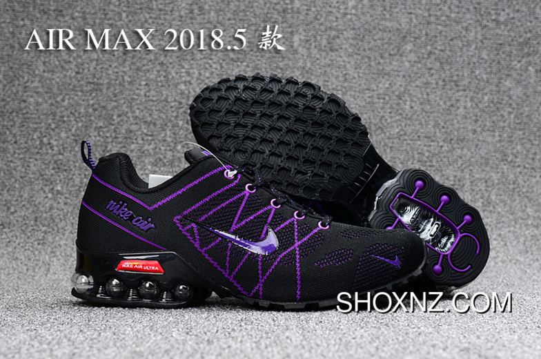 new concept 3d9f4 01128 Black Purple Nike 2018 Knitting FLYKNIT Half Cushion Air Max 2018.5 For Sale