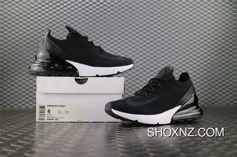 3d17980bb7269 Nike Air Max 270 FLYKNIT Knit Half-palm Cushion Running Shoes Black White  SKU AH8050