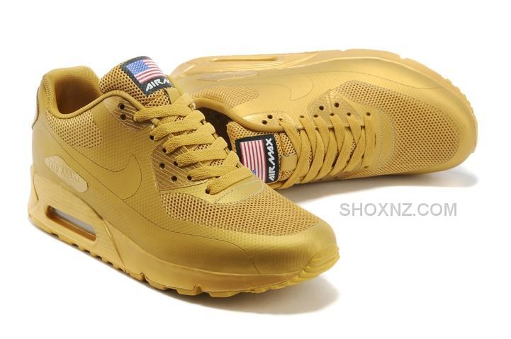nike air max 90 hyperfuse qs mens shoes all gold