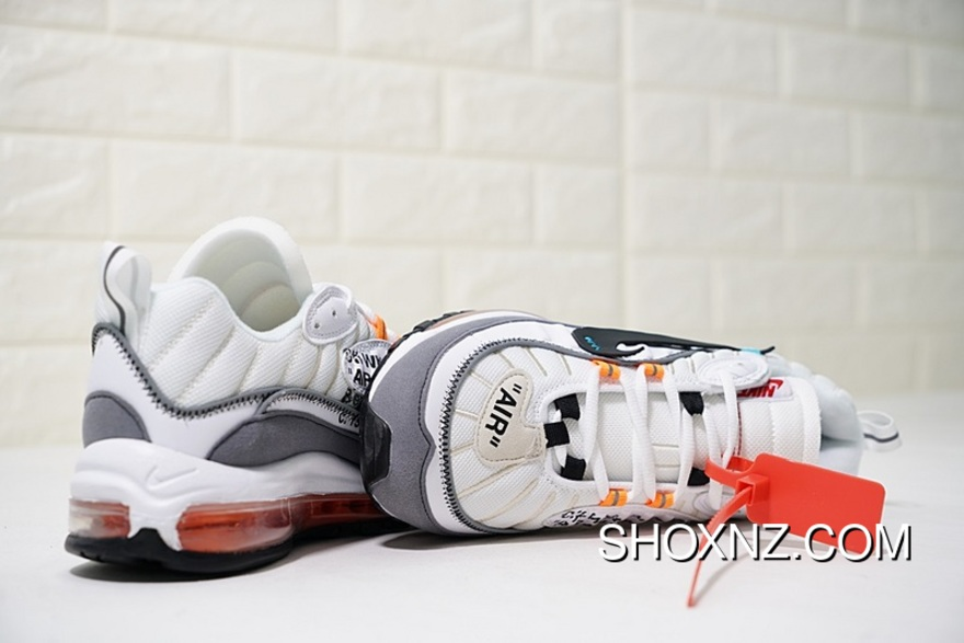 more photos 3cbad 1dc70 The Super Custom Shoes With Virgil Abloh X Nike Air Max 98 The Ten Retro  All-match Jogging ShoesOW White Grey Black Tangerine AJ6302-026 Free  Shipping