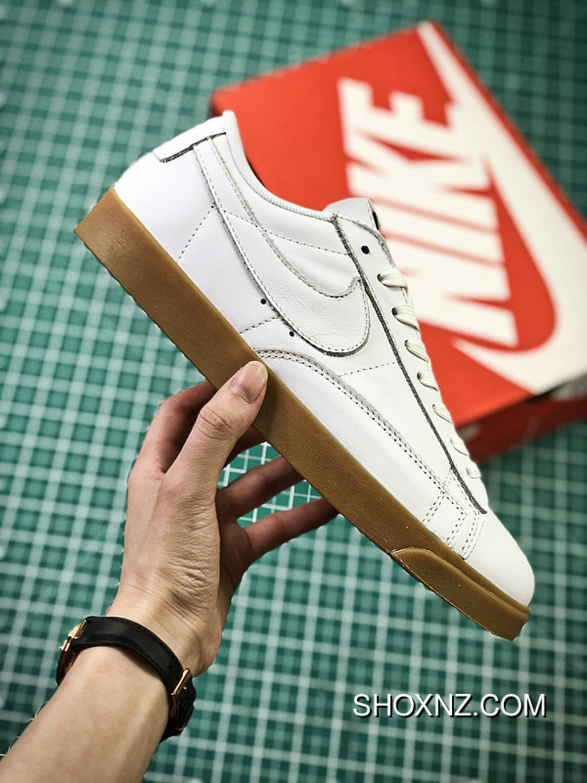 release date 9d06a 4cea7 Latest The Calf Leather Nike Blazer Low ID Customized Colorways Blazer  Classic All-match Sneakers Series Water Grey Black Rubber Yellow  AJ3733-992-Women ...