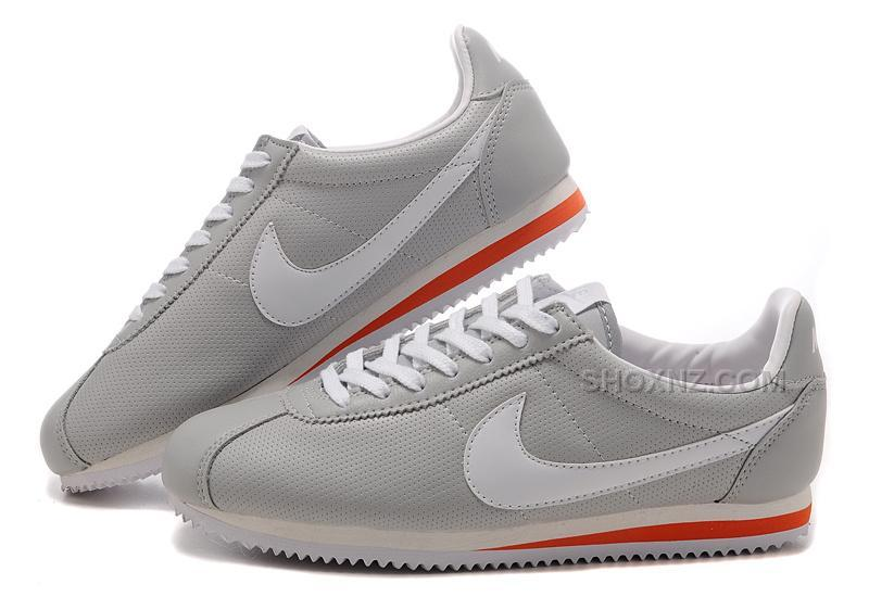 purchase cheap b6f6c df5eb Nike Cortez Women Leather Shoes Gray White Red