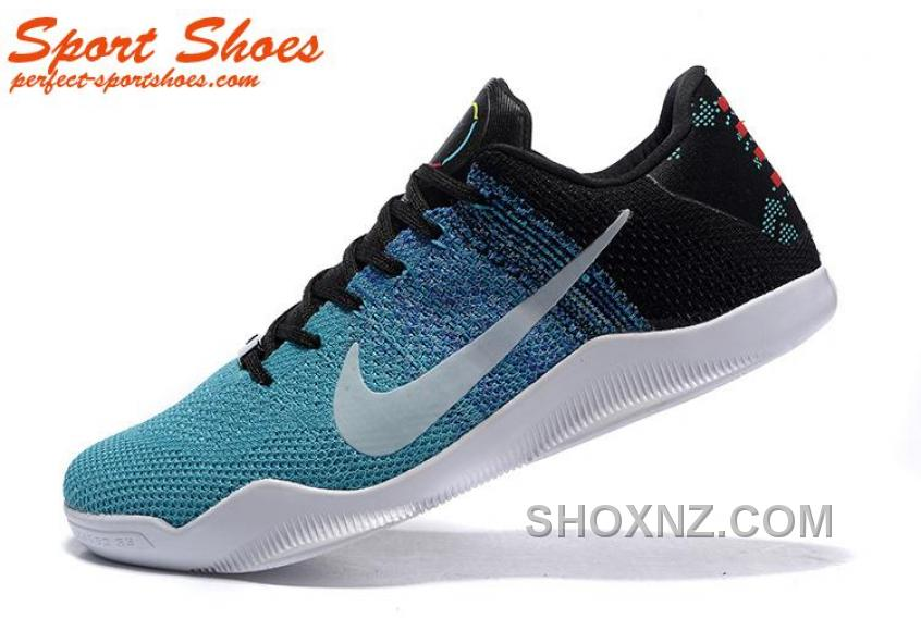 2016 Latest Nike Kobe 11 XI Elite Low Mens Basketball Shoes Blue Black White Free Shipping BPXr6yM