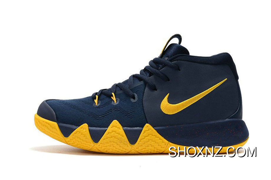 purchase cheap dd202 6fd4c Nike Kyrie 4 Cavs Midnight Navy Yellow Basketball Shoes Outlet