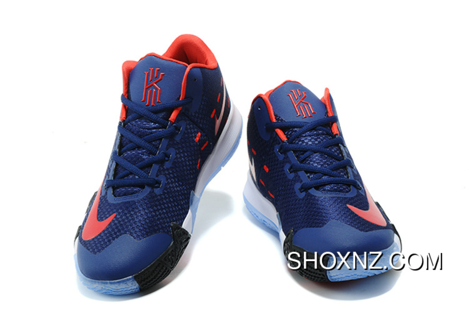buy popular 04216 cfd48 Nike Zoom Kyrie 4 Dark Blue Red Kyrie Irving 4 Nba Basketball Shoes Top  Deals
