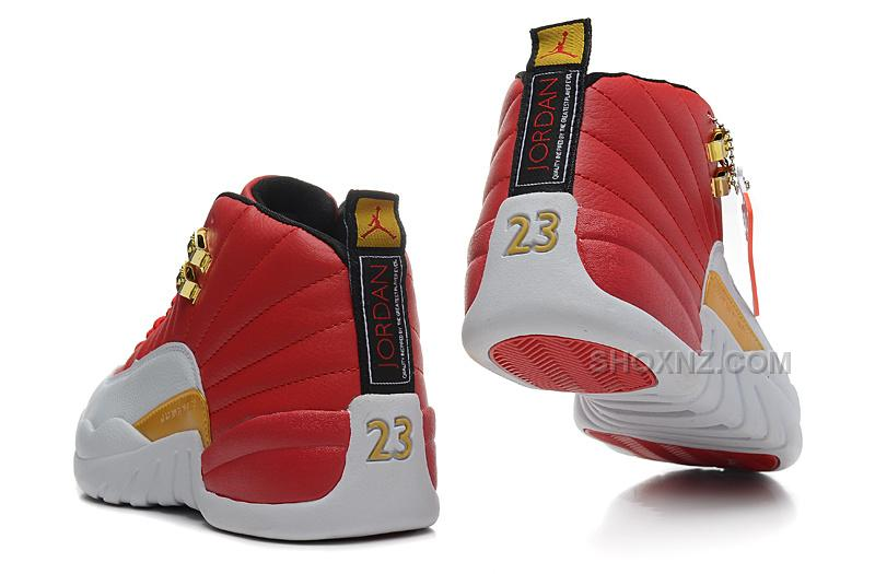 Womens Air Jordan 12 GS Red White Gold For Girls Cheap Sale