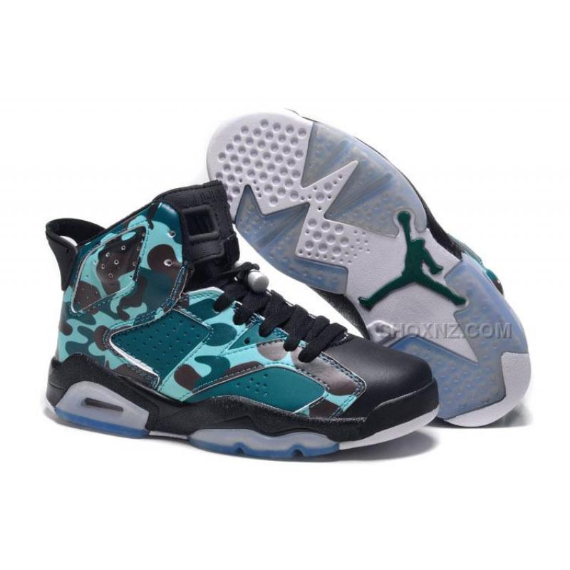 "a551ad98684f8 Womens New Air Jordan 6 Girls Retro ""Camo"" Black Teal For Sale ..."
