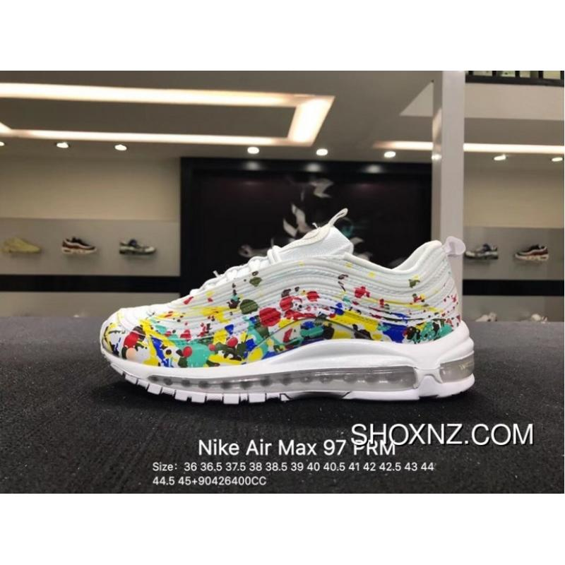 new arrival 37343 a240a Nike Air Max 97 PRM Rainbow Graffiti White Painted 3 M Zoom Running Shoes  Size Free Shipping