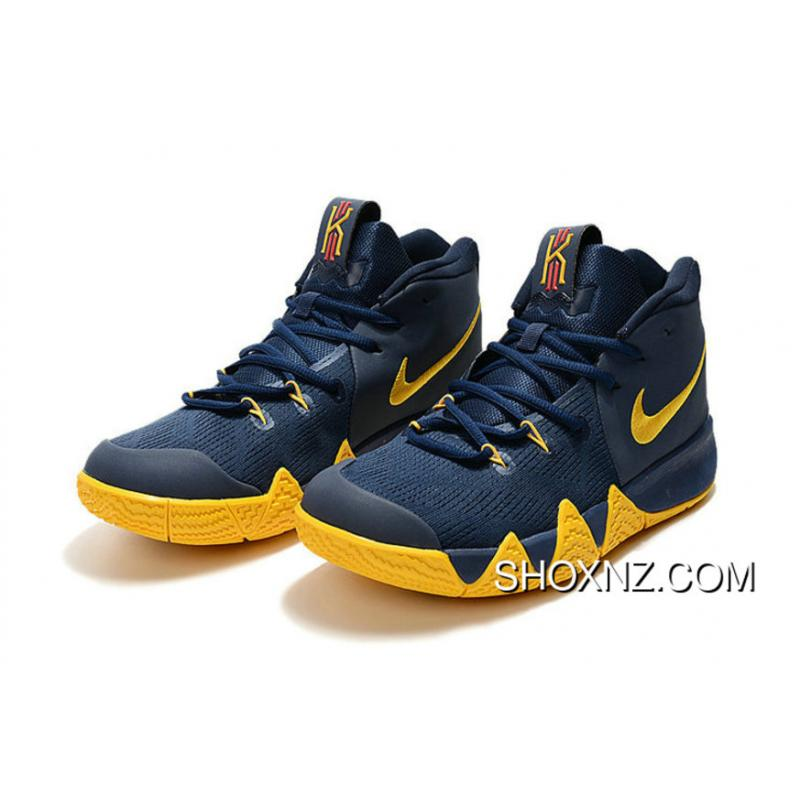 new styles cbd6d 7767e Nike Kyrie 4 Dark Blue Yellow Kyrie Irving Basketball Shoes For Sale