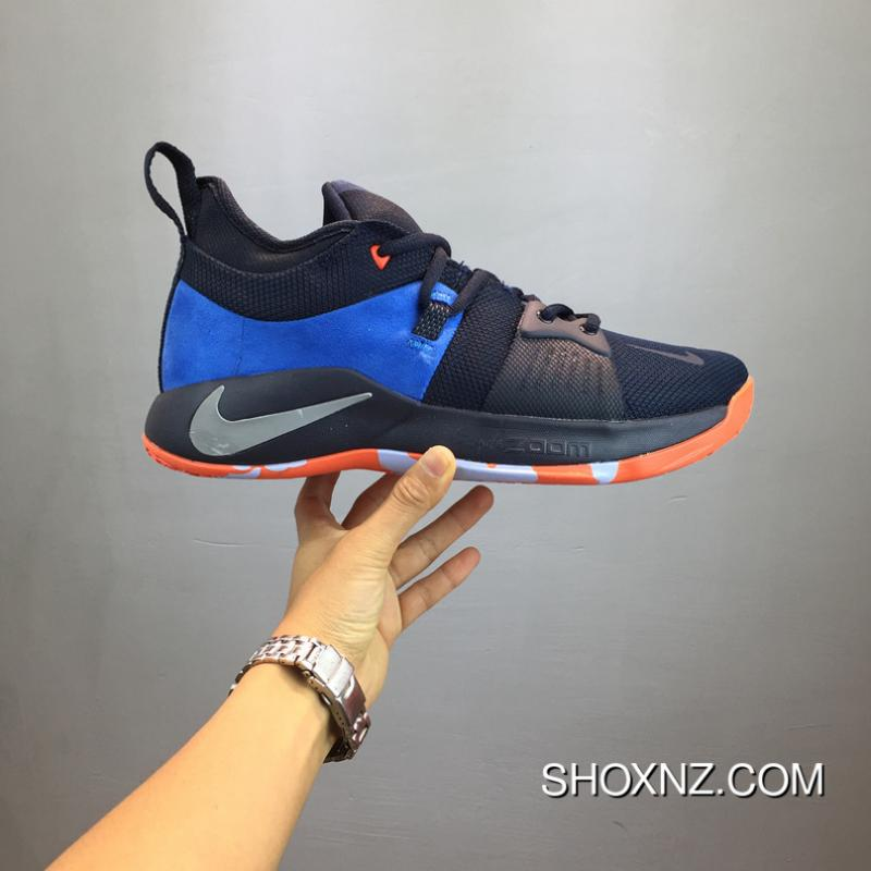 new concept 2a796 f3a90 Paul George PG2 Cure Shoes AJ2039-400 Nike PG 2 NAVY BLUE ORANGE New Style