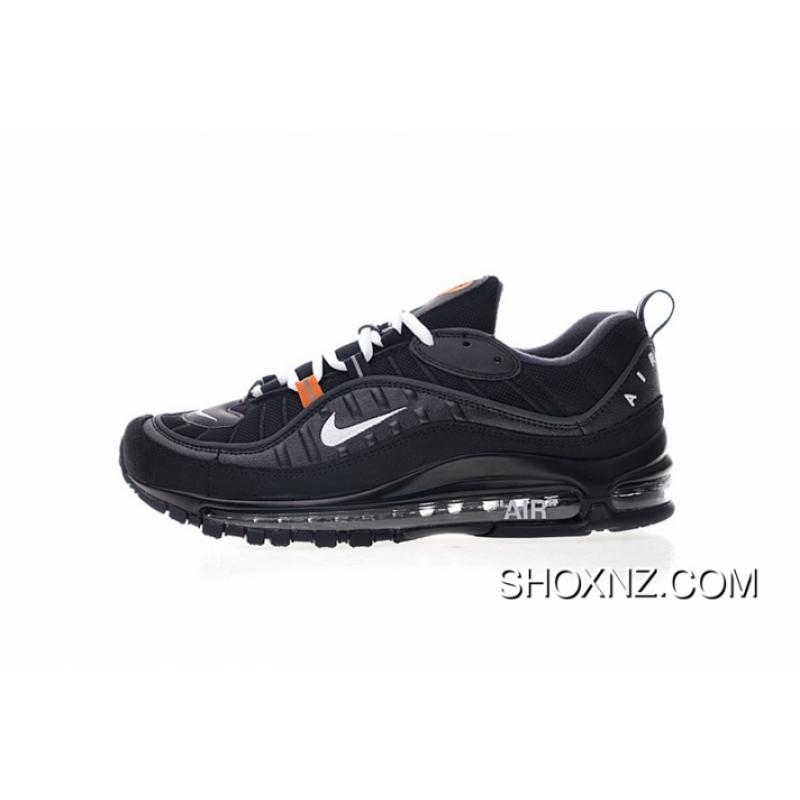 new concept b554d d0aee Off-White Nike Air Max 98 X The Ten Retro All-match Jogging Shoes Black  White Orange Super Custom Shoes 640744-001 For Sale