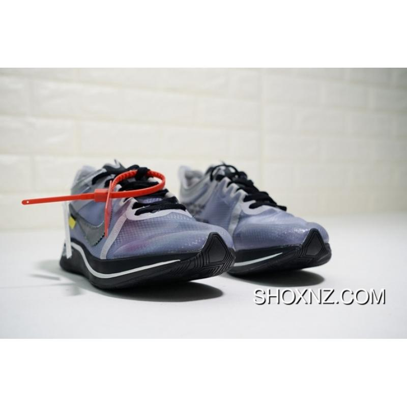 33ccebd858bd Latest Virgil Abloh Designer Independent Brand Super Limited OFF-WHITE X  Nike Zoom Fly Lightweight Cushioning Jogging ShoesOW Transparent Nets Grey  Mud ...