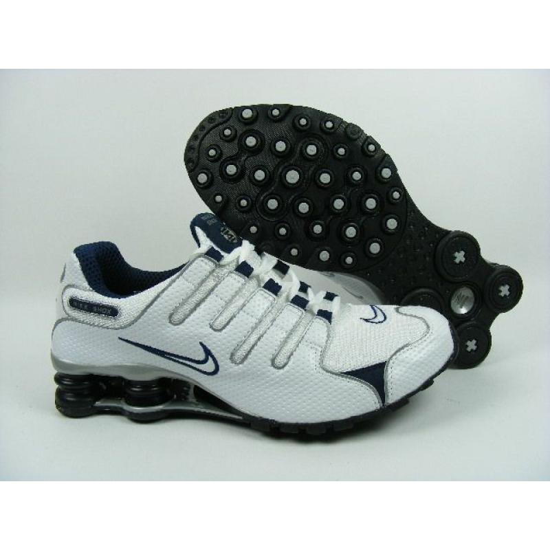 official photos 6e43d 49b7f Womens Nike Shox NZ Perforated Leather White Dark Blue