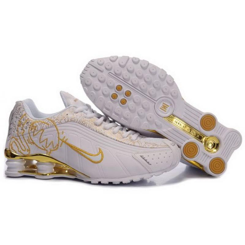 best service ef735 31711 Womens Nike Shox R4 White Metallic Gold Leather , Price   62.79 ...